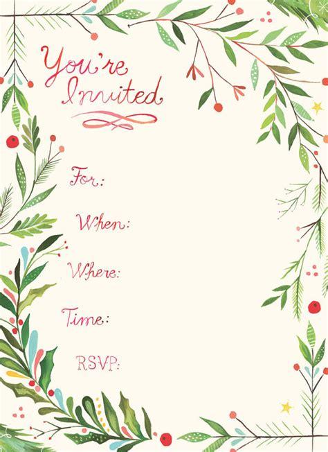 holiday fill in invitations