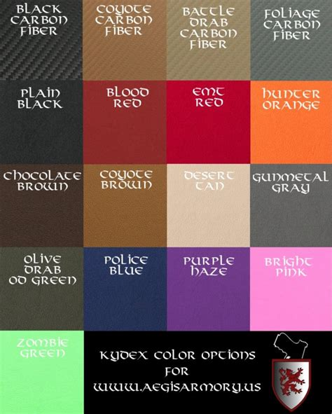 kydex colors 17 different kydex colors to choose from order at