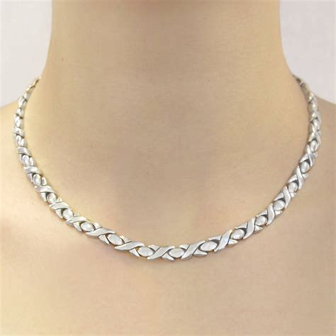 sterling silver hugs and kisses necklace by otis jaxon