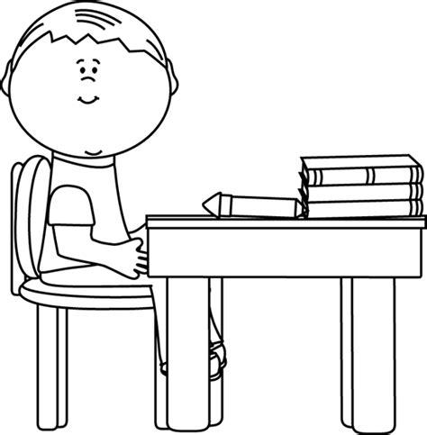 black and white school boy at desk clip black and