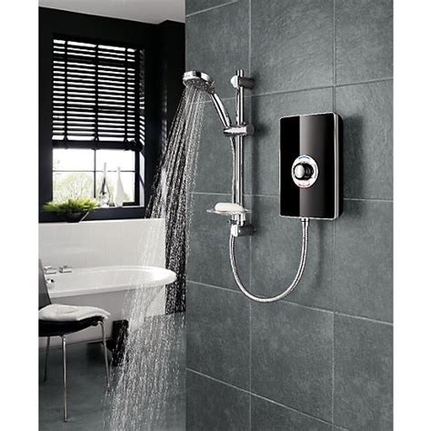 Heated Shower by Trition Style 9 5kw Electric Shower Black Gloss Effect