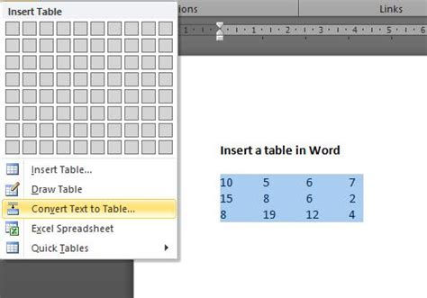 Convert Table To Text by How To Insert A Table In Word Outofhoursadmin
