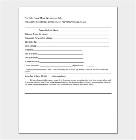 Event Contract Template 19 Sles Exles In Word Event Contract Template