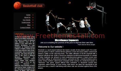 Free Basketball Club Black Css Website Template Freethemes4all Free Basketball Website Templates