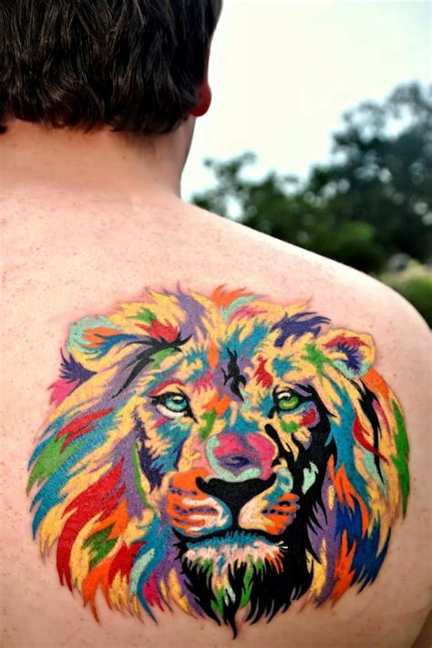colorful lion tattoo vibrant