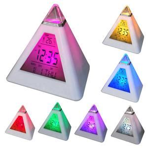 Color Changing Pyramid Clock Jam Meja Digital jual jam digital unik jam digital led bentuk pyramid