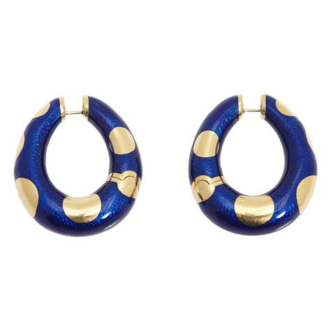 Bvlgari Blue 1 bulgari blue enamel and gold hoop earrings for sale at 1stdibs
