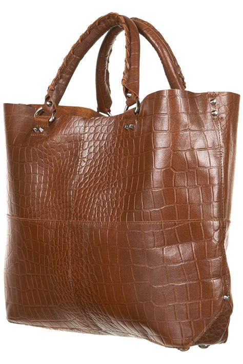 leather tote bag topshop brown leather tote bag