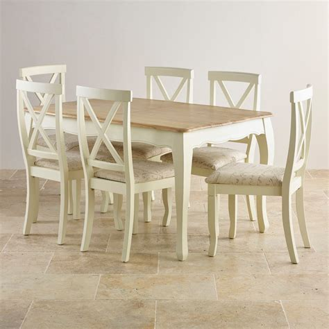 Painted Oak Dining Table And Chairs Painted Oak Extending Dining Table 6 Script Beige Chairs