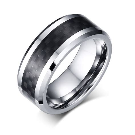 s jewelry tungsten ring with carbon fiber 8mm black