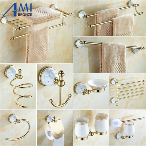 Wall Mounted Bathroom Accessories Sets 63gd Series Golden Brass Wall Mounted Bathroom Accessories Sets Towel Rack