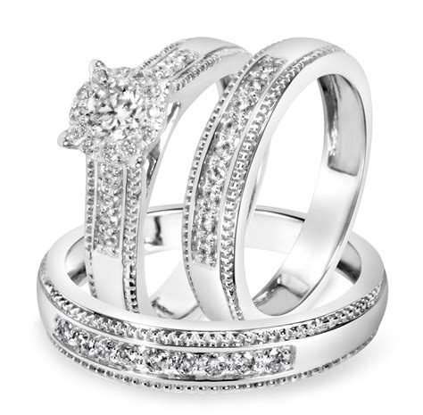 7 8 carat t w trio matching wedding ring set 14k