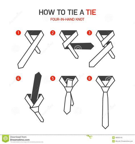 printable directions how to tie a tie how to tie a tie instructions stock vector illustration
