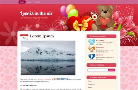 theme blog love white pink love blogger layout download