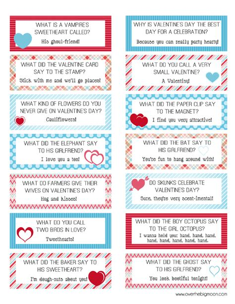 printable funny jokes free printable valentines lunch box joke cards
