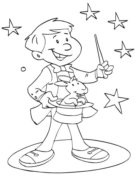 A Magician Showing Magic Coloring Page