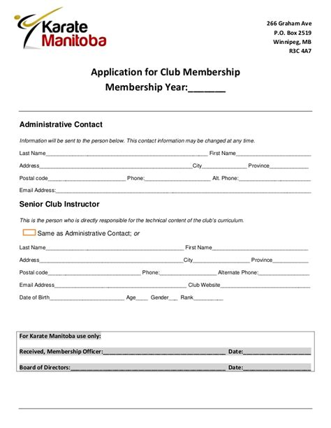 Club Instructor Application Form Karate Manitoba 2012 2013 Martial Arts Contract Template