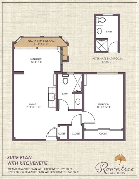 kitchenette floor plans living options rowntree senior apartments suites cottages