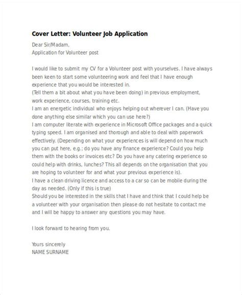 application letter for volunteer 46 application letter exles sles pdf doc