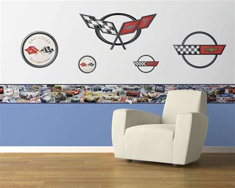 corvette wallpaper border history of the corvette pre pasted wallpaper border