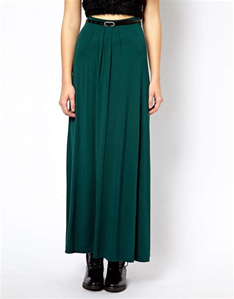 asos new look jersey maxi skirt with belt in green lyst