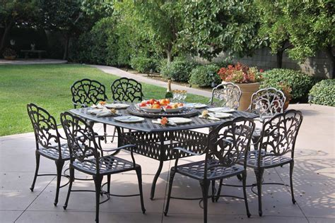 "Patio Furniture Dining Set Cast Aluminum 64"" Square Table"