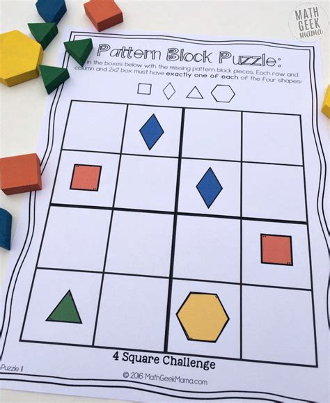 pattern block puzzles math logic puzzles for 8th grade pattern block puzzles
