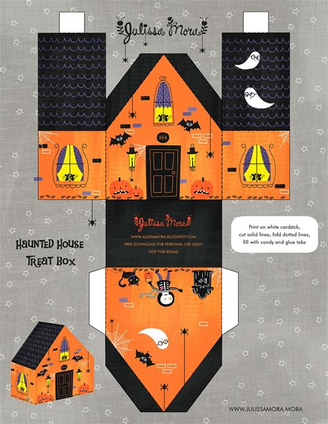 printable haunted house paper we love to illustrate free haunted house treat box printable