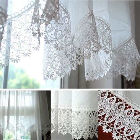 white lace embroidered curtain finished kitchen