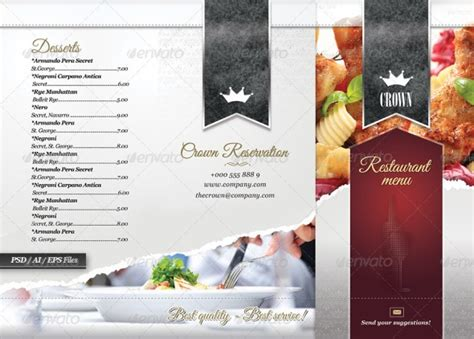 tri fold menu template photoshop 40 psd indesign food menu templates for restaurants