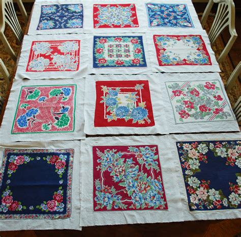 Hankie Quilts by Lake And Garden And Blue Vintage Hankie Quilt