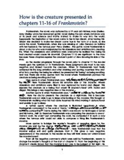analysis of frankenstein quotes how is the creature presented in chapters 11 16 of
