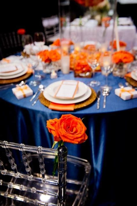 orange and blue decor royal blue and orange wedding table www imgkid com the
