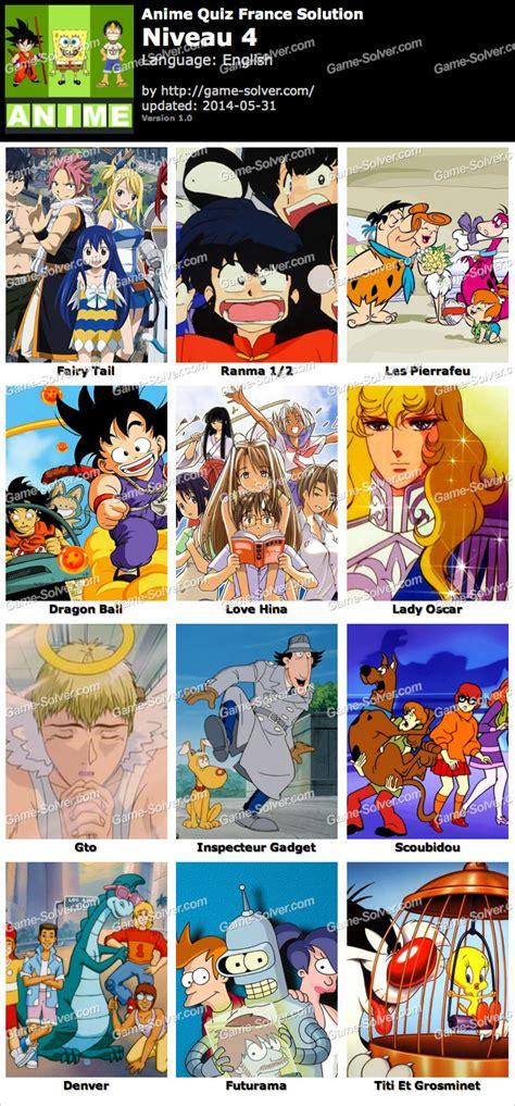 Anime Quiz by Anime Quiz Fran 231 Ais Niveau 4 Solver