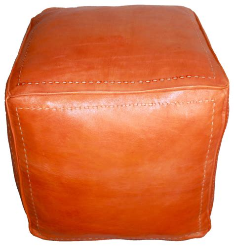 Orange Leather Ottoman Moroccan Square Leather Ottoman Orange Modern Footstools And Ottomans By Badia Design Inc