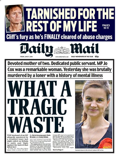 sport latest news pictures and videos daily mail online jo cox mp s killing dominates newspaper front pages itv