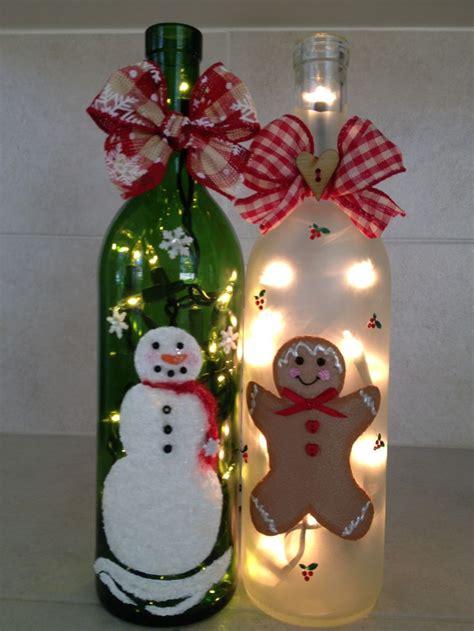wine bottle christmas lights bottle of cheer hand painted lighted wine bottles