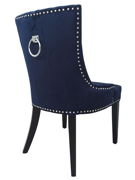 Navy Velvet Dining Chairs Uptown Navy Velvet Dining Chair Set Of 2 From Tov D30 Coleman Furniture