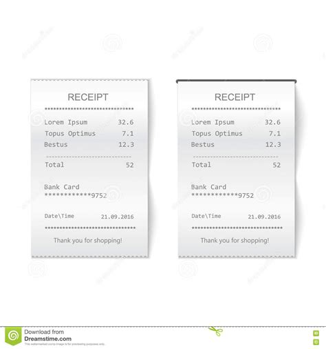 paper receipts template vector sales printed receipt bill atm template cafe or