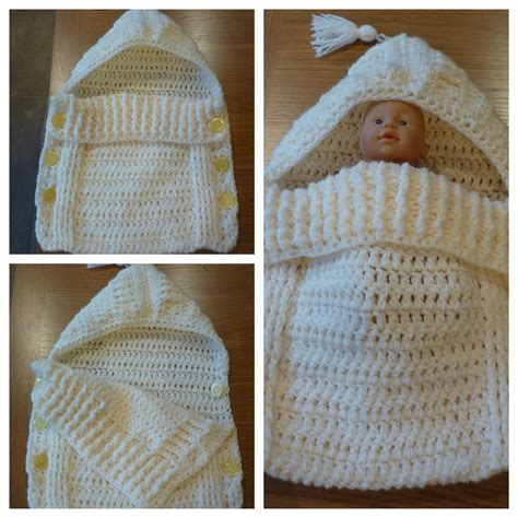 free crochet pattern baby bag newborn baby sleeping bag cocoon sack cream coloured
