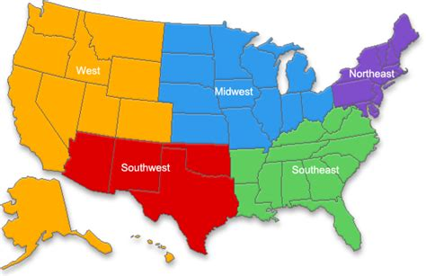 united states map south east west regions of the united states thinglink