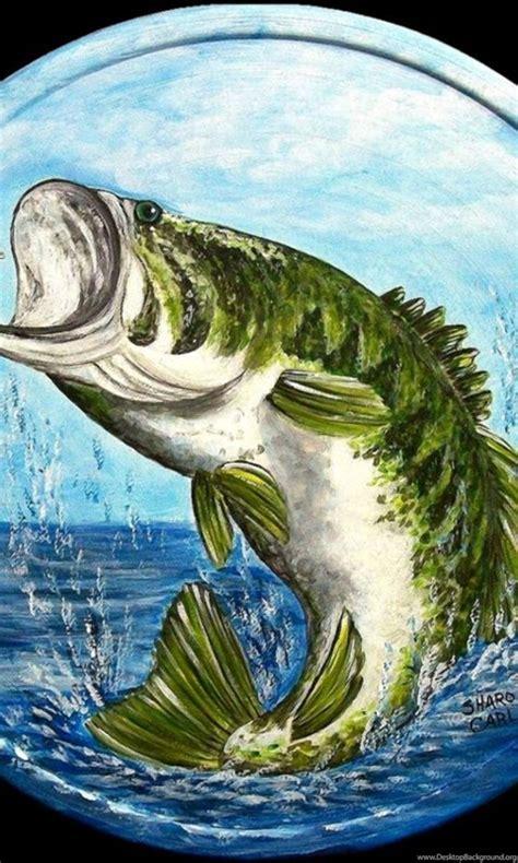 largemouth bass jumping painting desktop background