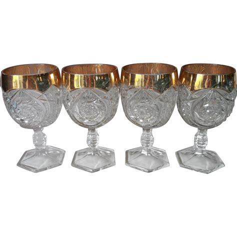 Pressed Glass Goblets Eapg Goblets Antique Pressed Glass Gold Flash Rims Set 4