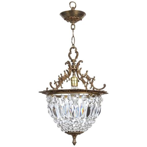 1940s Crystal And Bronze Basket Pendant Light With Bronze Basket Pendant Light