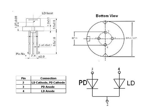 pin configuration of diode single mode laser diode at 1300nm
