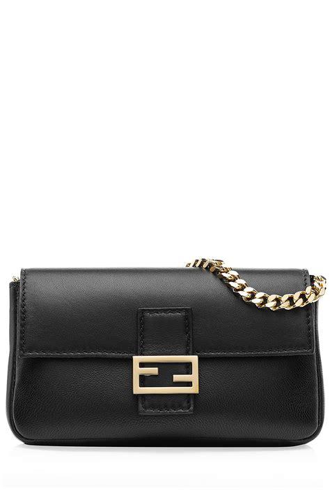 Fendi Micro 2face Baguette fendi micro baguette leather shoulder bag black in black lyst