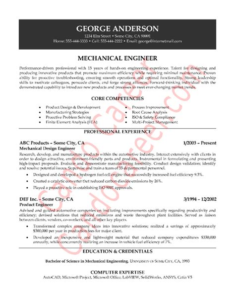 Mechanical Engineering Resume Templates by Mechanical Engineer Sle Resume By Cando Career Coaching