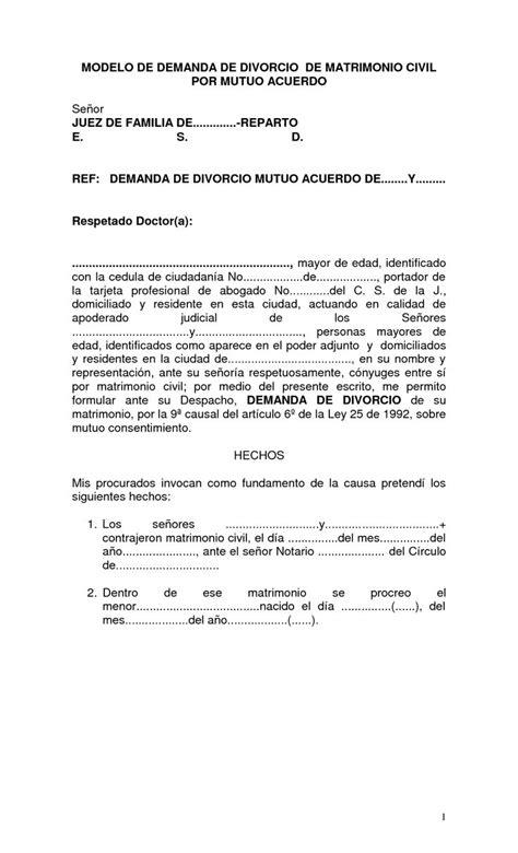 modelo de mutuo acuerdo derecho laboral panam ensayos 5 modelo de demanda de divorcio de matrimonio civil por
