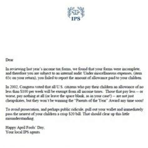 up letter prank the finest april fools prank the irs audit letter