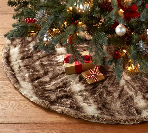 faux fur tree skirt caramel ombre pottery barn